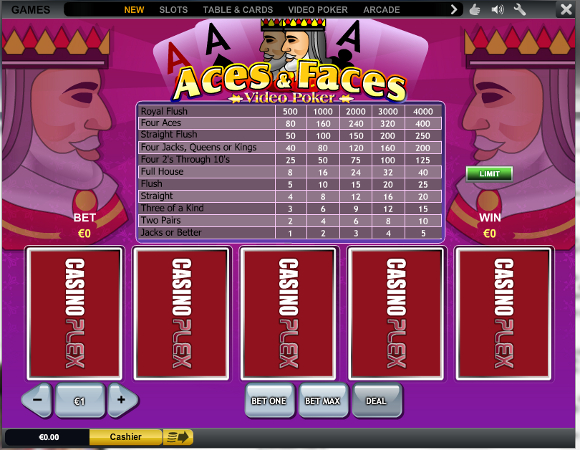 Ace and Faces Video Poker