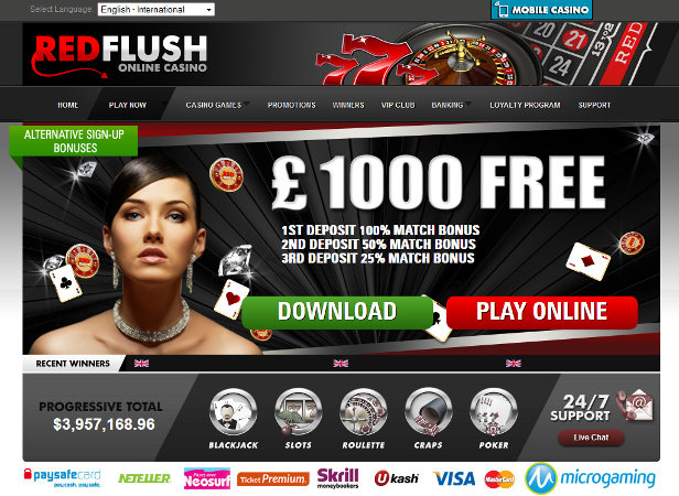 red flush online casino promo code